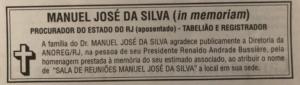 Família do Colega Manuel da Silva agradece publicamente homenagem da Anoreg/RJ