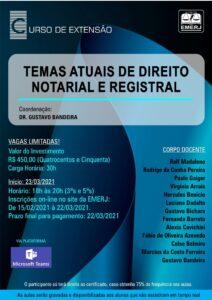"""Curso de extensão EMERJ """"Temas Atuais de Direito Notarial e Registral"""""""