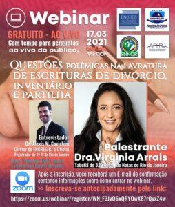 Webinar ENOREG RJ – Questões polêmicas na lavratura de escrituras de divórcio, inventário e partilha