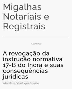A revogação da instrução normativa 17-B do Incra e suas consequências jurídicas